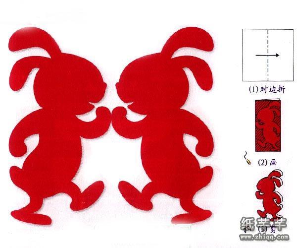 【兔子剪纸】步骤方法