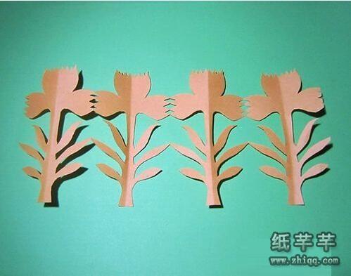 幼儿园【一排小树剪纸】步骤图解