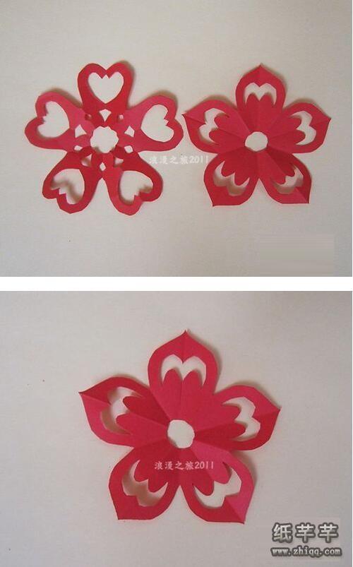 【五瓣花剪纸】的剪法步骤教程