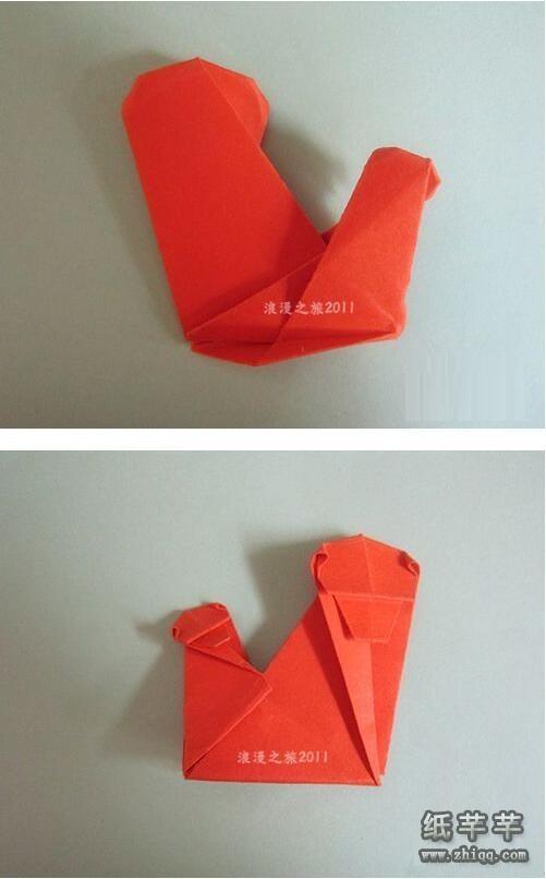 父亲节【大小猴子折纸】步骤教程