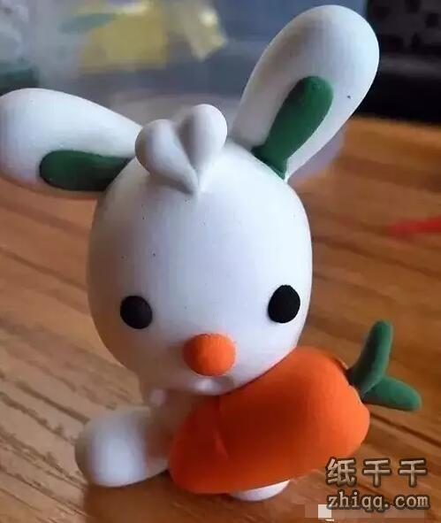 橡皮泥可爱小白兔制作步骤
