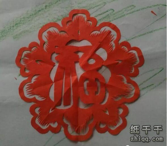 牡丹团花福字剪纸方法步骤